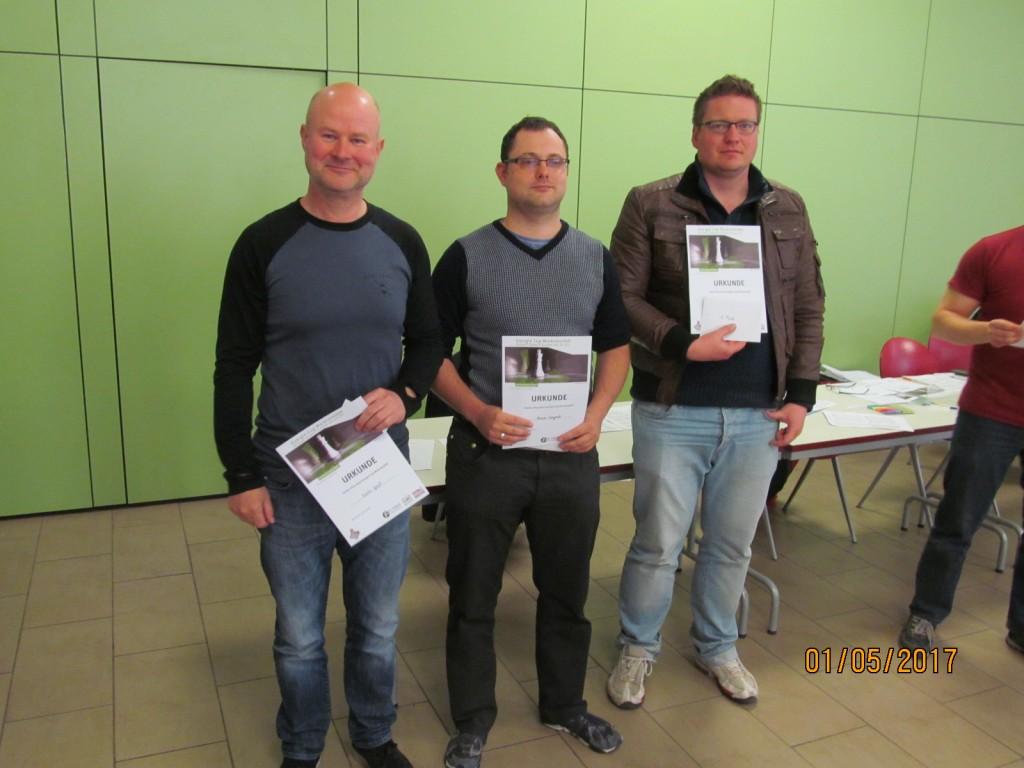 Die besten drei des Turniers: Gunter Spiess (3.), Hannes Langrock (2.), Ferenc Langheinrich (1.)